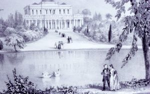 Pittville Pump Room 1839, with lake, by George Rowe