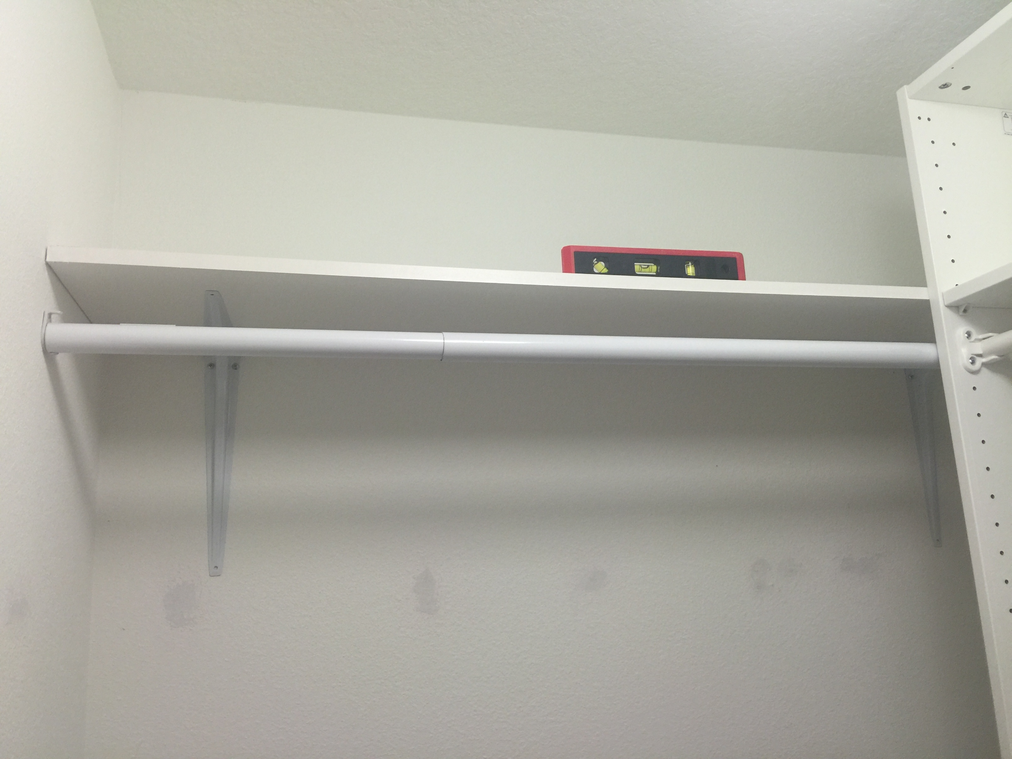 I Hung This Extendable Closet Rod Below The Shelf, That I Bought From  Loweu0027s Also.