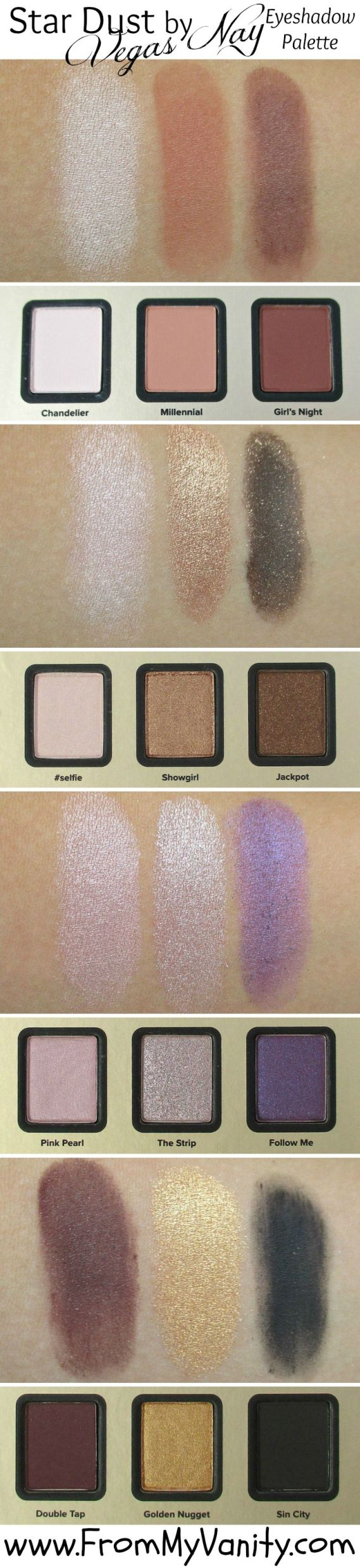 Too Faced Star Dust Vegas Nay // Palette Swatches // FromMyVanity.com