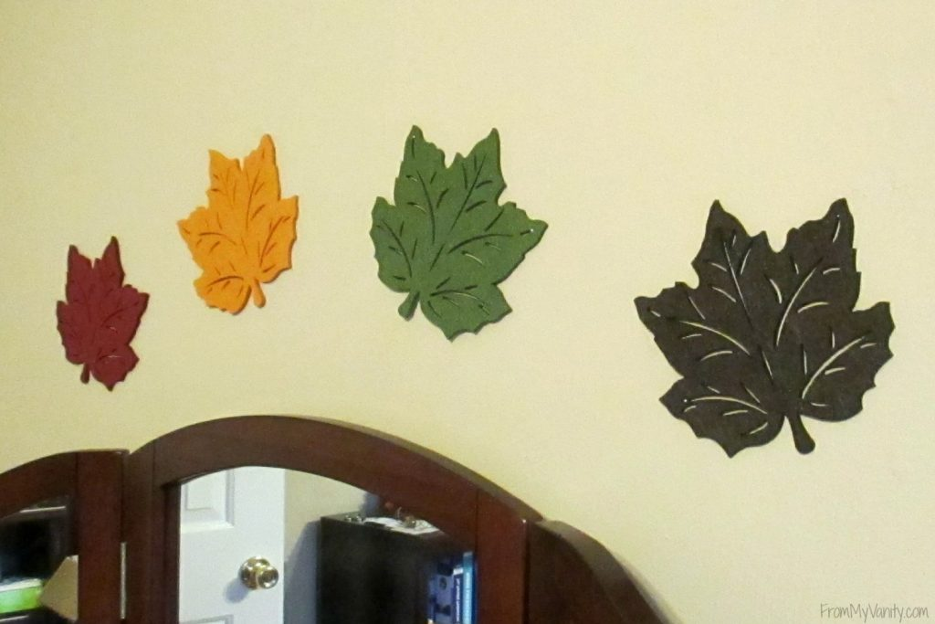 Decorate Your Vanity for Fall // Fall Inspired Wall Leaves // #LoveAmericanHome #CollectiveBias #ad // FromMyVanity.com