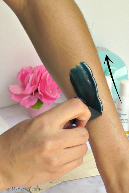When waxing at home, you want to pull very quicly and sharply in the opposite direction the hair grows // FromMyVanity.com