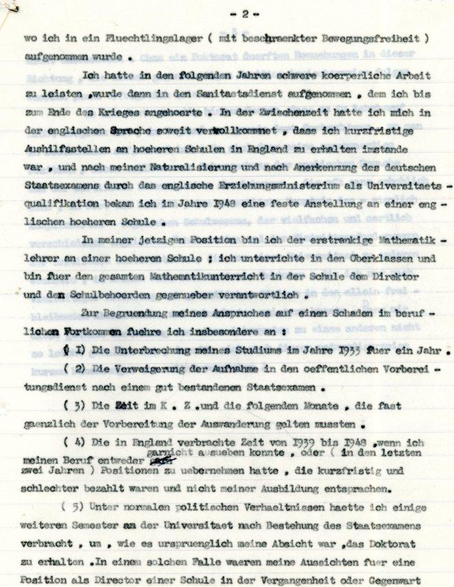 Lebenslauf: Werner Weissenberg, page two