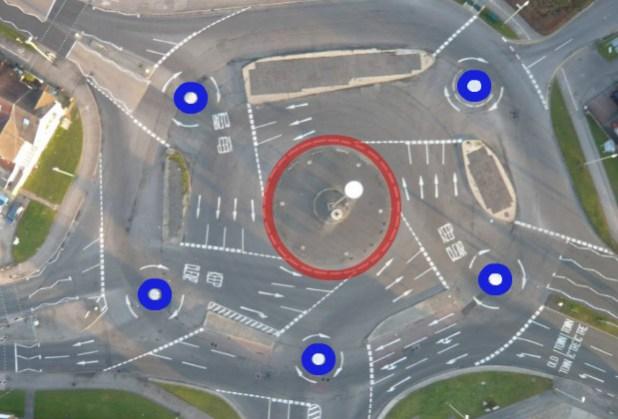 Vista de Google Maps de The Magic Roundabout en Swindon