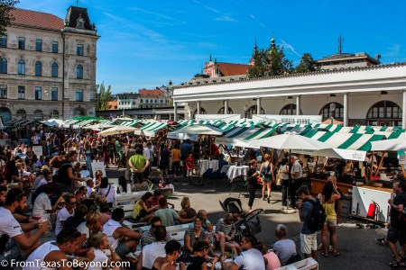 Riverside Market - Crowds Enjoying the Friday Food Festival in Ljubljana's Riverside Market