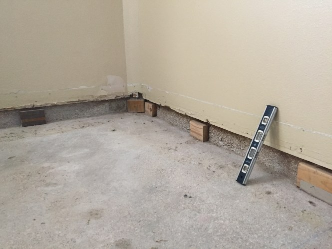 Basement walls with baseboard removed