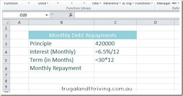 Calculate Loan Repayments in Excel using the PMT function