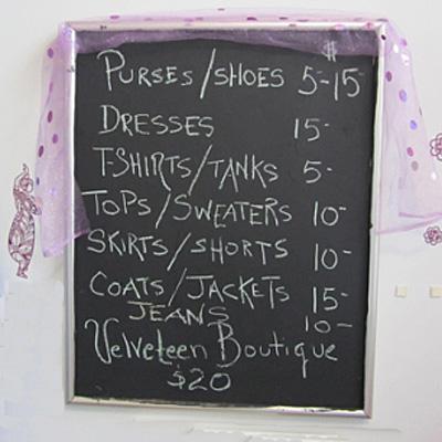 Velveteen Vintage Price Board