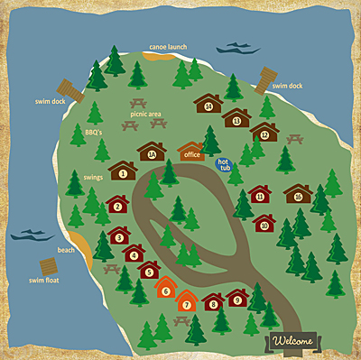 Cusheon Lake Resort Map