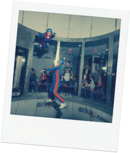 sky diving polaroid