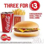 DEAL: McDonald's 3 for $3 – Cheeseburger, Small Fries & Small Coke (starts 14 February 2018)