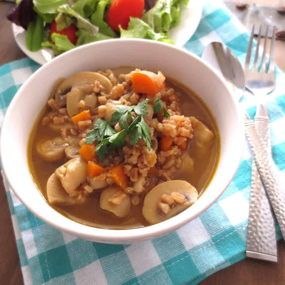 Farro Soup with Carrots and Mushrooms