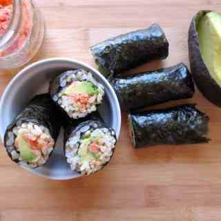 Bento box ideas - avocado salmon seaweed rolls
