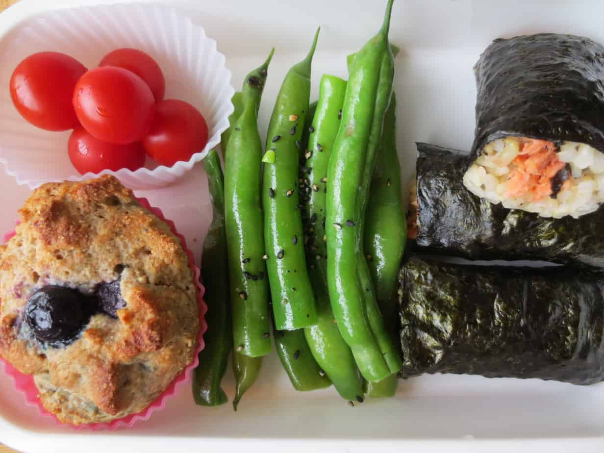 Blueberry Yogurt Muffin, Sesame Steamed Green Beans, Cherry Tomatoes, Salmon Avocado Rolls
