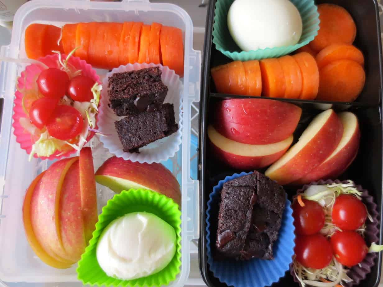 Shredded Cabbage Salad, Whole Wheat Brownies, Hard Boiled Egg, Apple Slices, Carrots