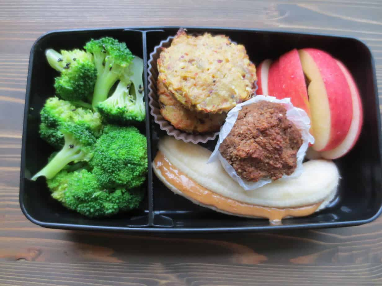 Spicy Tuna Cakes with Sesame Steamed Broccoli, Muffin, Banana with Peanut Butter, Apple