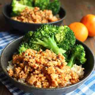 Ground Orange Chicken Brown Rice Bowls with Broccoli | Frugal Nutrition #easydinner #orangechicken #groundchicken #ground turkey