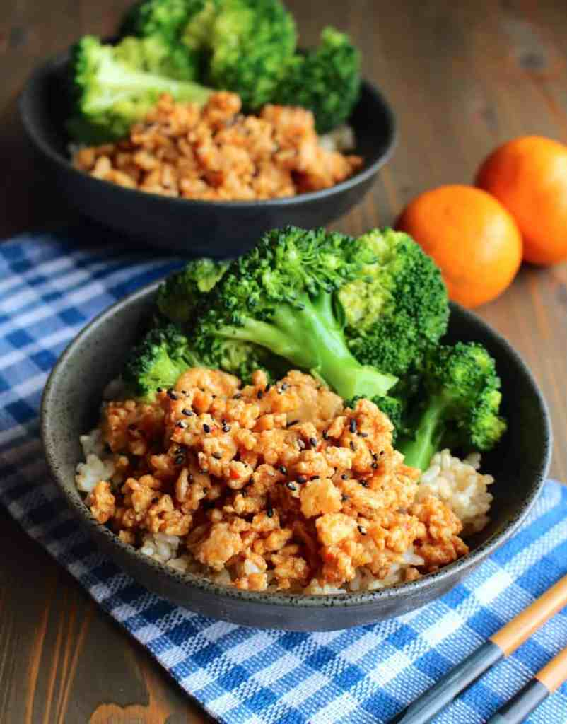 Orange Chicken and Broccoli Rice Bowls | Frugal Nutrition #chinese #orangechicken #groundturkey #groundchicken #easydinner