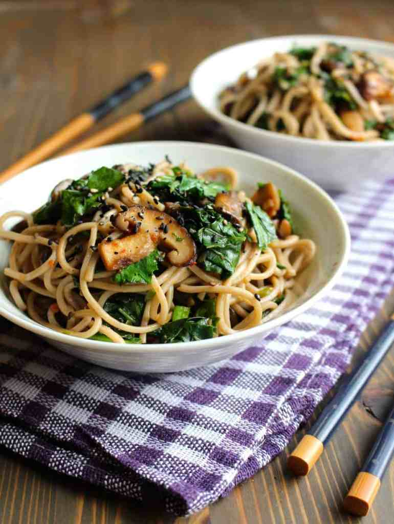 Easy Garlic Butter Mushrooms with Soba & Leafy Greens | Frugal Nutrition #vegetarian #noodles #soba #mushrooms