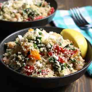 Easy Lemony Whole Wheat Couscous with Feta and Spinach | Frugal Nutrition #traderjoes #easy #weeknight #dinner #lunch