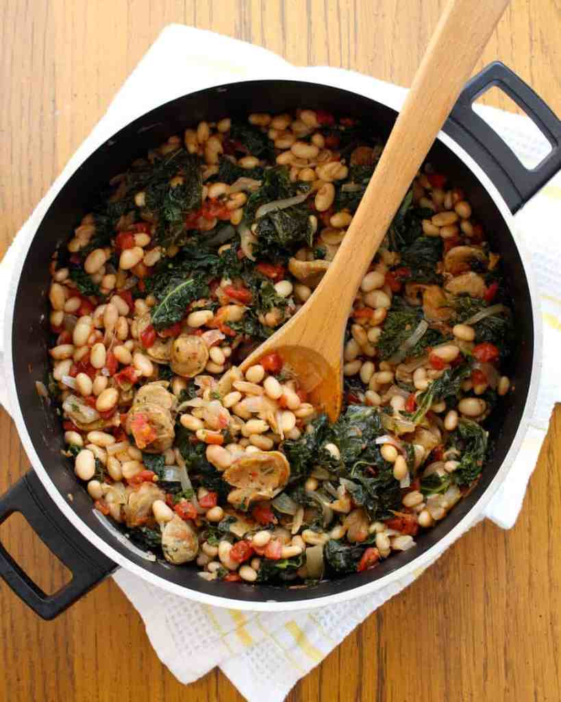Easy One Pot White Beans & Sausage   Frugal Nutrition