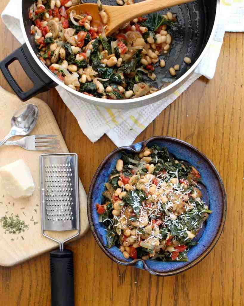 Easy Weeknight Dinner - One Pot White Beans, Sausage, Tomatoes, and Kale $6.09 serves 4-6 people