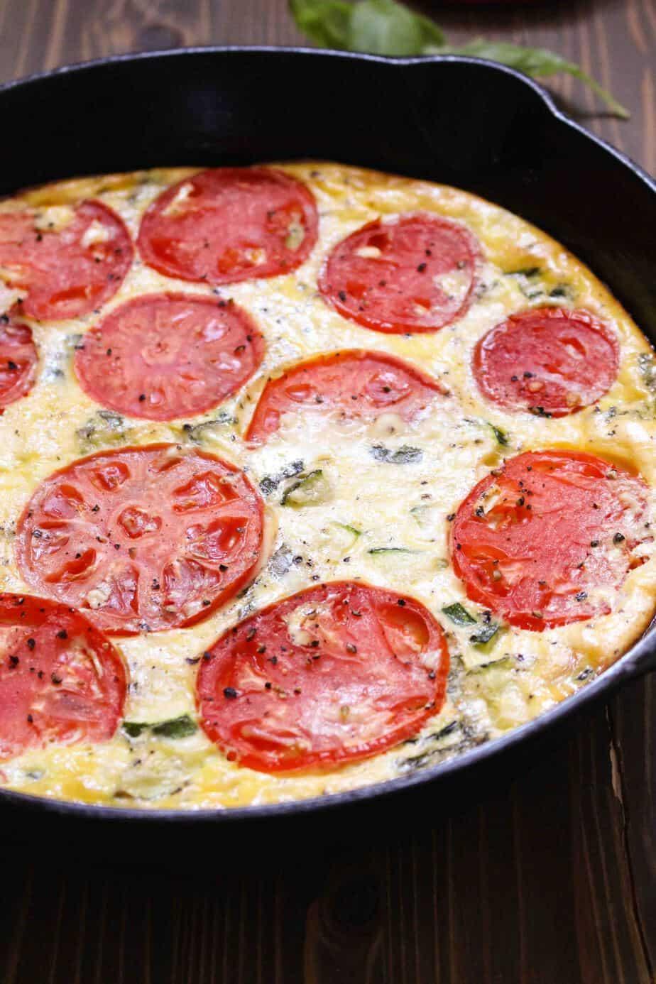 Easy Zucchini & Tomato Frittata with Feta | Frugal Nutrition