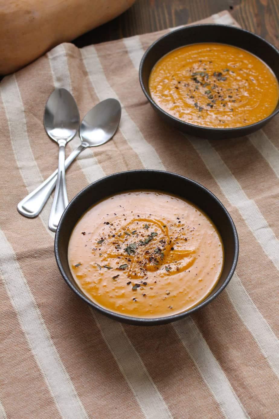 coconut thai butternut squash soup vegan frugal nutrition