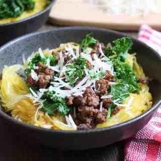 Sausage & Kale Spaghetti Squash Bowls | Frugal Nutrition