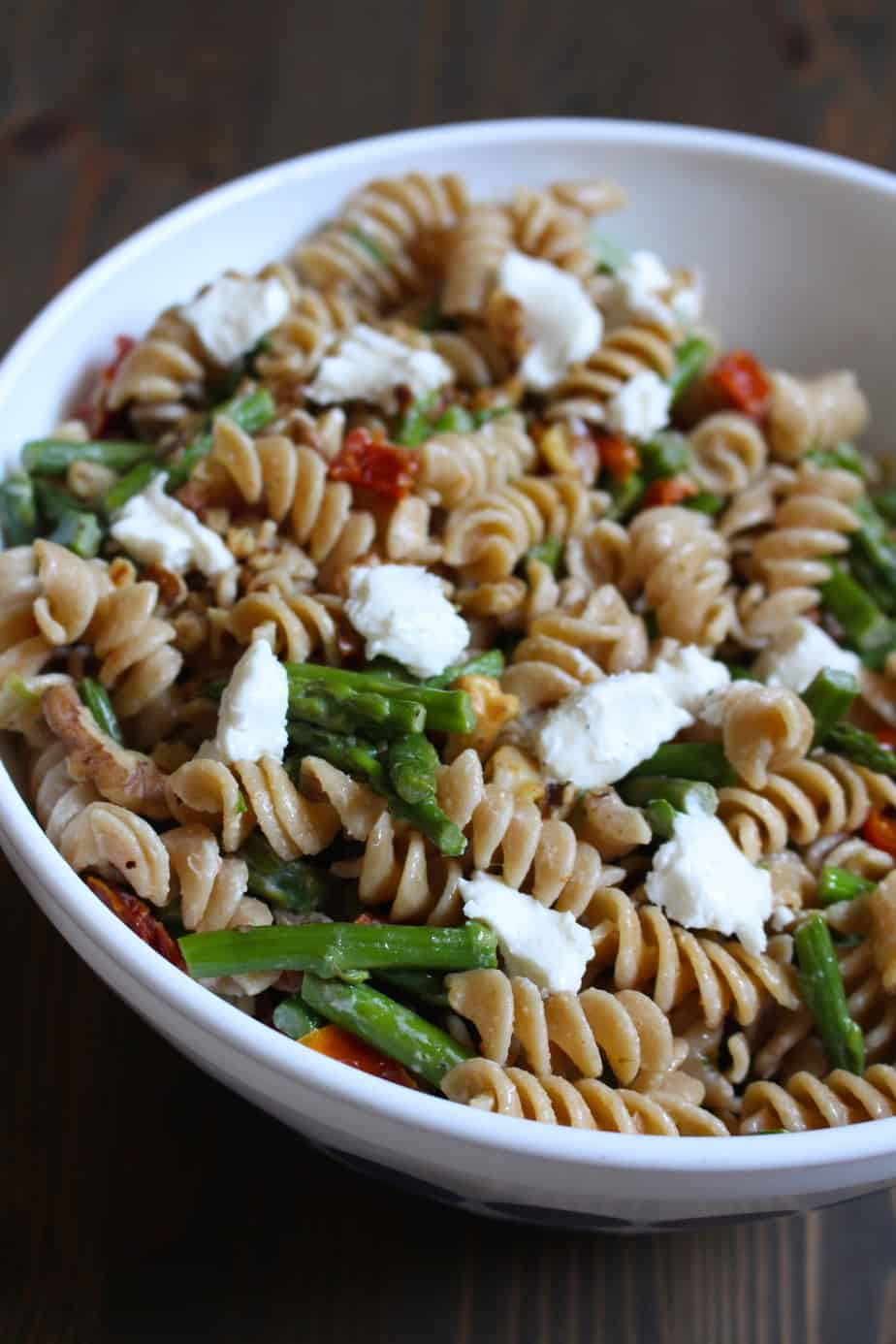 Whole Wheat Pasta Salad with Asparagus and Goat Cheese | Frugal Nutrition