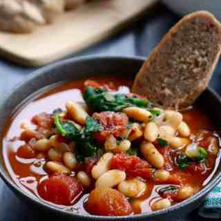 White Bean, Tomato, Balsamic Soup | Frugal Nutrition #vegan