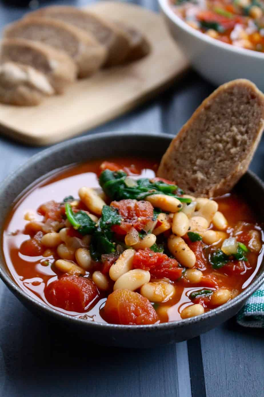 White Bean, Tomato, Balsamic Soup | Frugal Nutrition #vegan