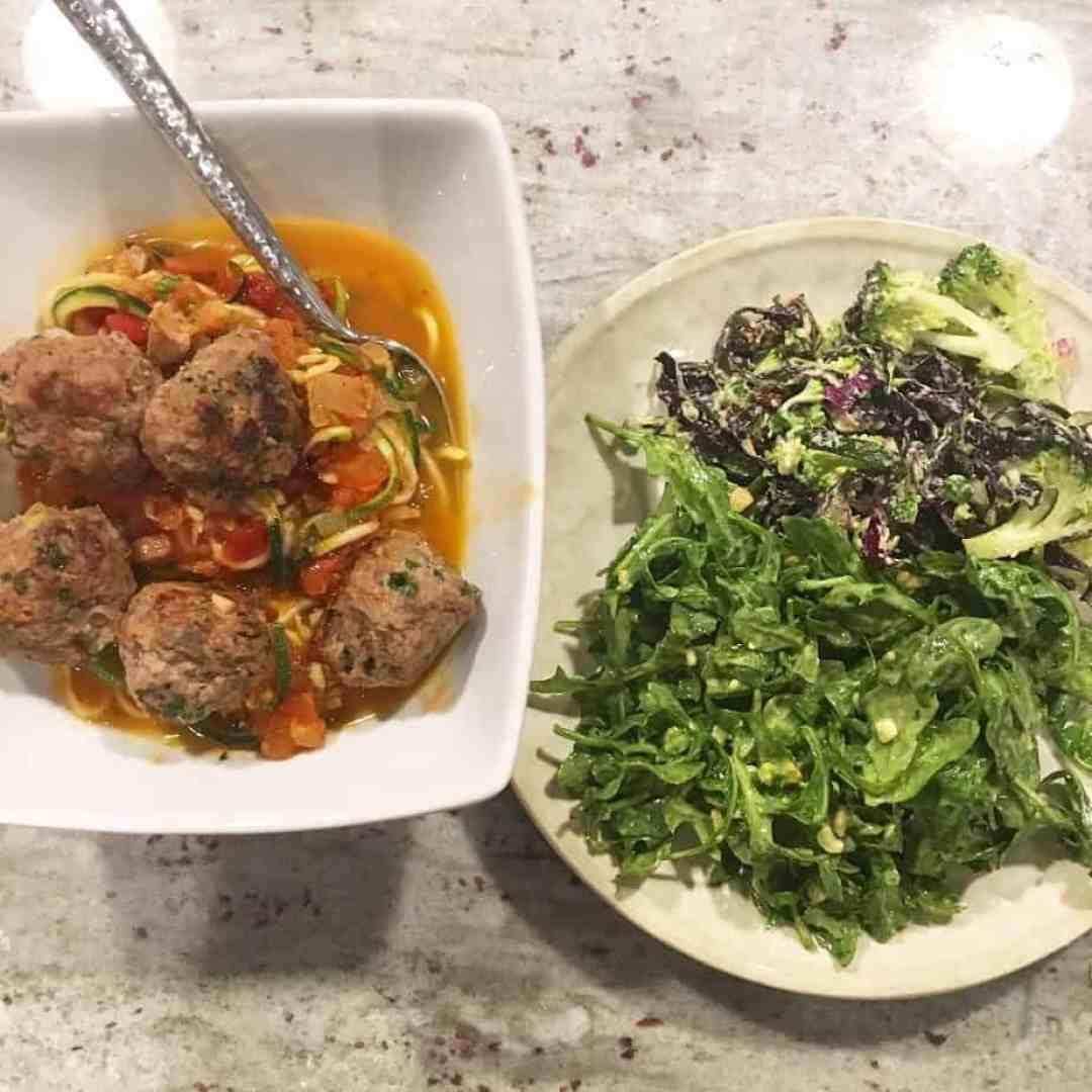 Lamb Meatballs, Zucchini Noodles, Salads | Frugal Nutrition