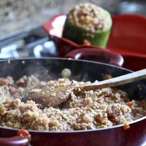 Look whats cookin! Come see our healthydinner quinoa stuffedpeppers! Healthyhellip