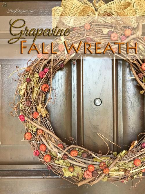 Fall Grapevine Wreath | FrugElegance | www.frugelegance.com