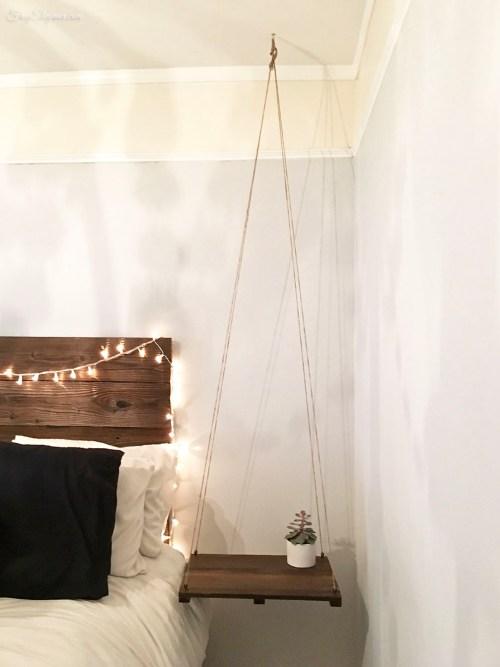 Rustic Headboard & Hanging Side Table | FrugElegance | www.frugelegance.com