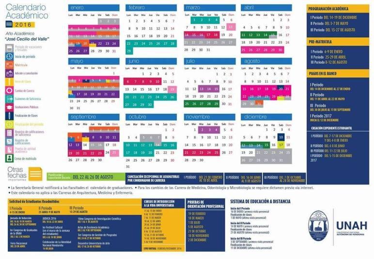Calendario Académico UNAH 2016 - FRU