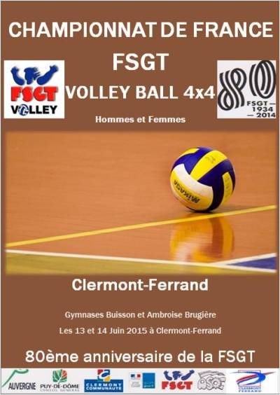 CHAMPIONNAT DE FRANCE FSGT de VOLLEY-BALL 4x4 MIXTE et FEMININ 2015 | FSGT