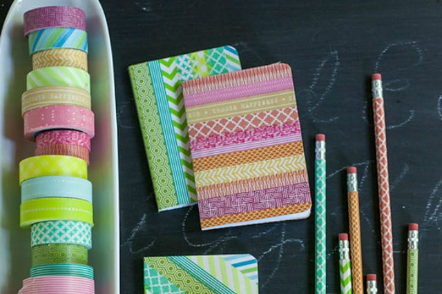 μολύβια και τετράδια με washi tape