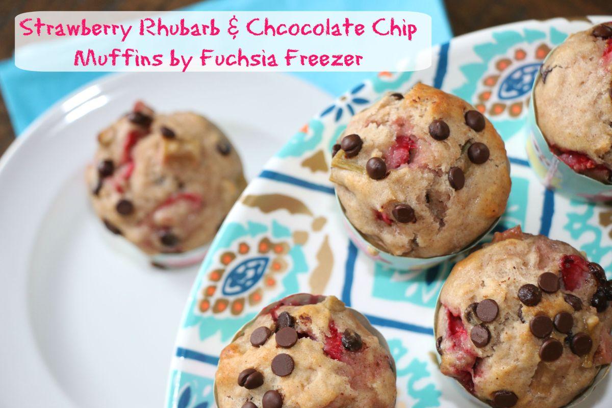 Strawberry Rhubarb & Chocolate Chip Muffins