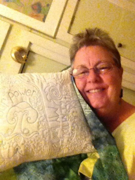 "Cathy McDonald and her pillow ""I am not my body"""