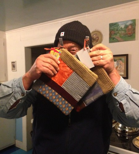 Jon with the last two Plaid Friday Potholders