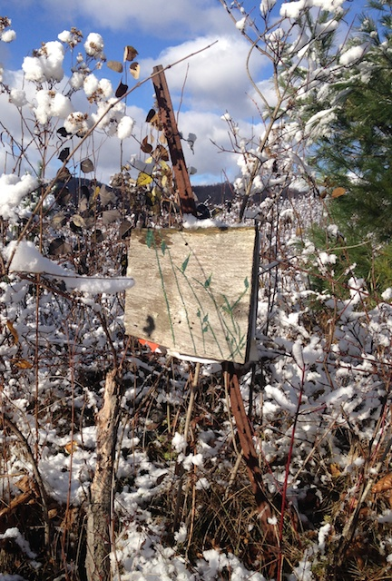posted sign in snow