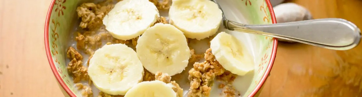 bowl of vegan granola with bananas