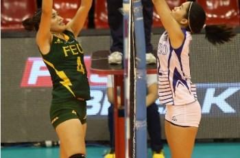 Ateneo's Jia Morado (right) tips the ball over FEU's Heather Guino-o during their Shakey's V-League semis duel.