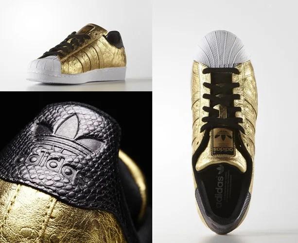 """オーストリッチ & メタリックゴールドのアディダス オリジナルス スーパースター (adidas Originals SUPERSTAR """"Gold Metallic"""") [AQ4702]"""