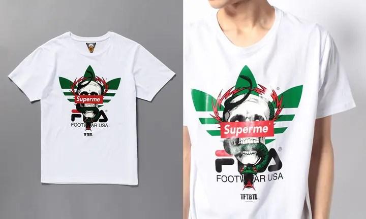 【パロディー】ブランドロゴを掛け合わせたパロディーカットソーを展開する「TFTBTL」のTシャツ! (The First,The Best, & The Last)