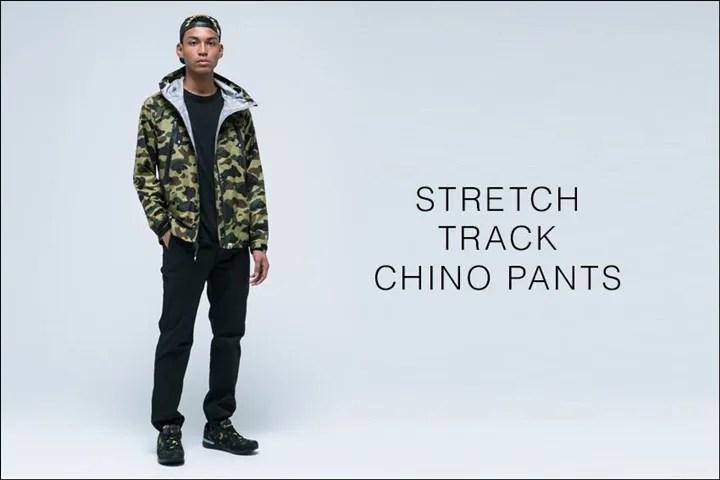 A BATHING APEから柔らかくストレッチの効いた優しい履きごこちの「STRETCH TRACK CHINO PANTS」が4/9発売!(エイプ)