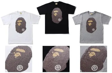 A BATHING APEからガラスビーズで仕上げたBIG APE HEADの「GLASS BEADS BIG APE HEAD TEE」が4/9発売!(エイプ)