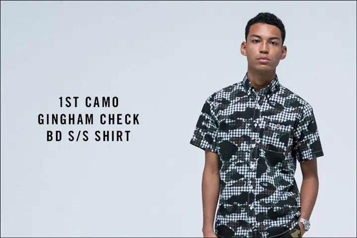 A BATHING APEからギンガムチェックに1ST CAMOを組み合わせた半袖ボタンダウンシャツ「1ST CAMO GINGHAM CHECK BD S/S SHIRT」が5/14発売!(エイプ)
