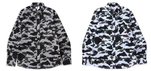 A BATHING APEからオリジナルカモ柄の1ST CAMOとストライプを組み合わせたボタンダウンシャツが3/18発売! (ア ベイシング エイプ)